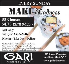 Sunday Maki Madness $4.75 sushi rolls