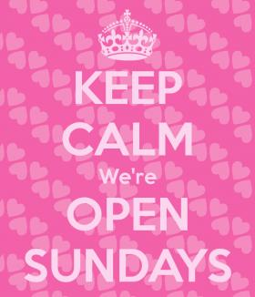 Store Hours: Open Sundays!