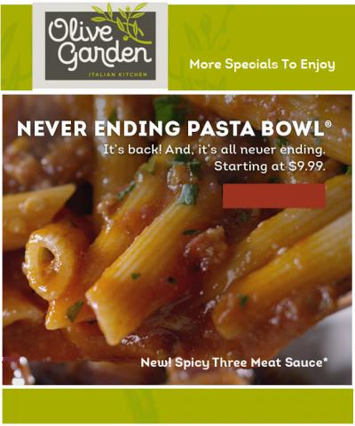 Never Ending Pasta Bowl Is Back !