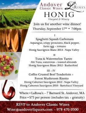 Honig Wine Dinner