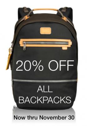 20% Off All Backpacks