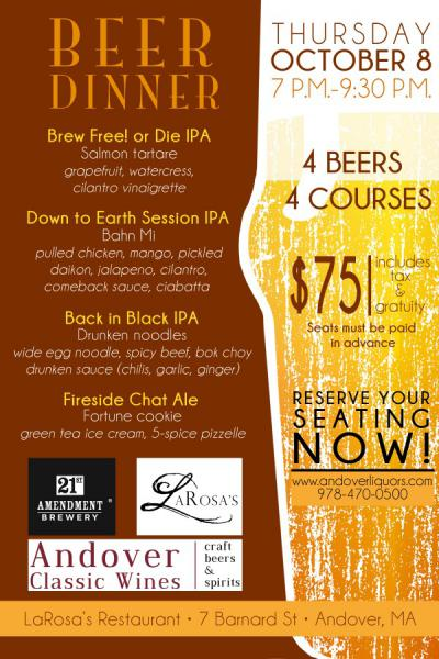 Beer Dinner 21 st Amendment